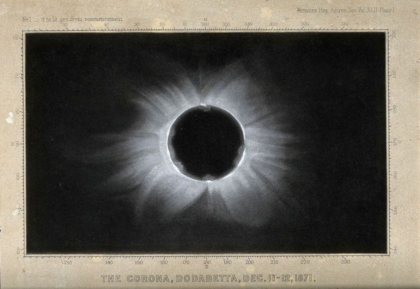Astronomy;_the_corona_of_the_sun,_viewed_during_a_total_sola_Wellcome_V0024739